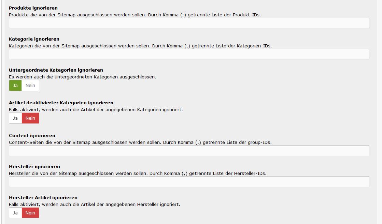 modified eCommerce - XML Sitemap Inhalte ausschliessen