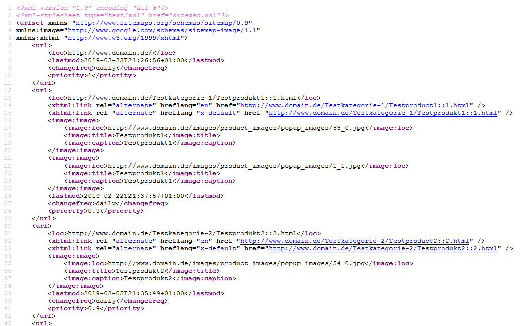 modified eCommerce - XML Sitemap Quelltext