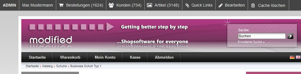 modified eCommerce  Shop Admin-Leiste