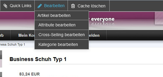 modified eCommerce  Shop Admin Bar Artikel Bearbeiten