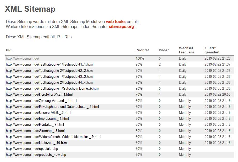 modified Shop - XML Sitemap Browser Ansicht