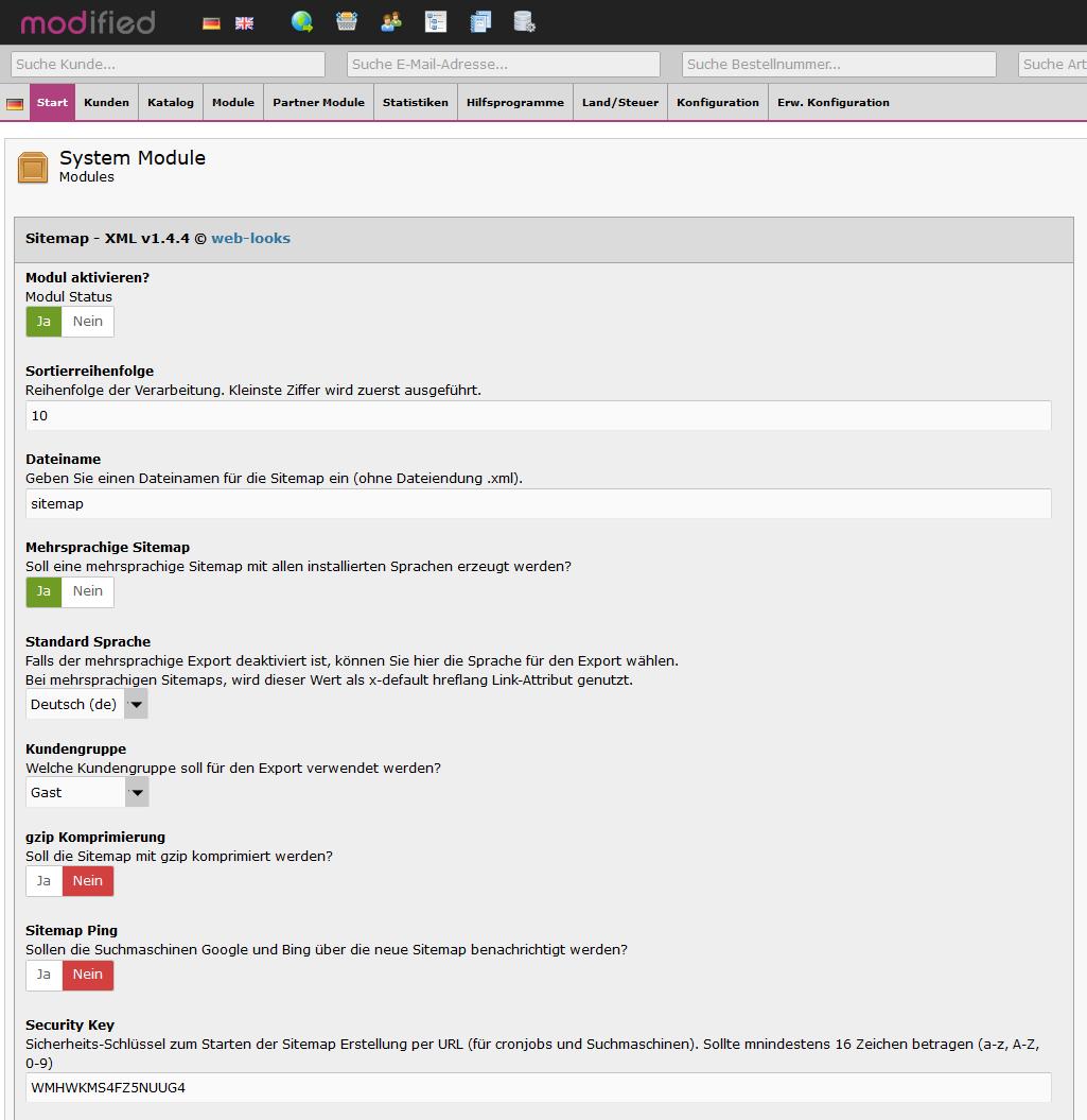 xtcmodified - XML Sitemap Konfiguration
