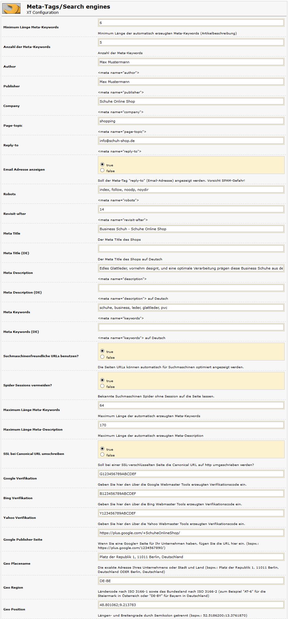 xt:Commerce Shop SEO Meta Tags Konfiguration