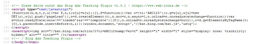 Bing Ads Tracking Code
