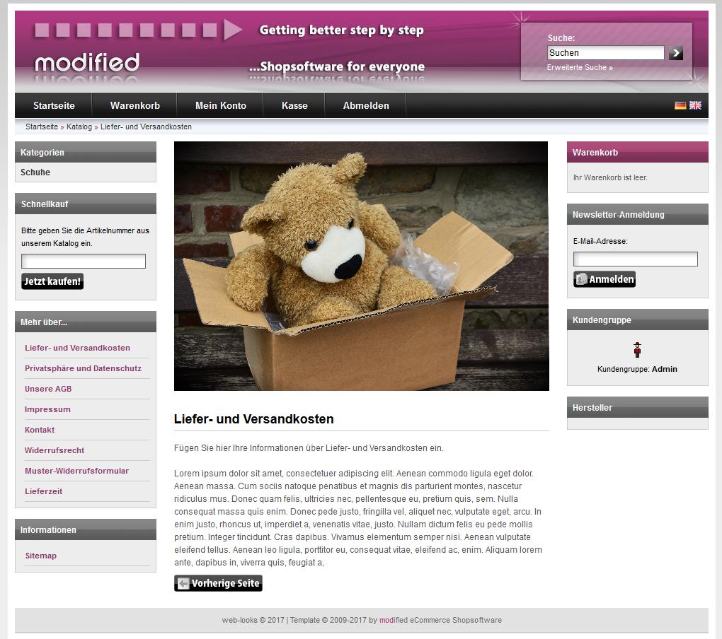 xt:Commerce Shop Content Bilder im Kundenbereich