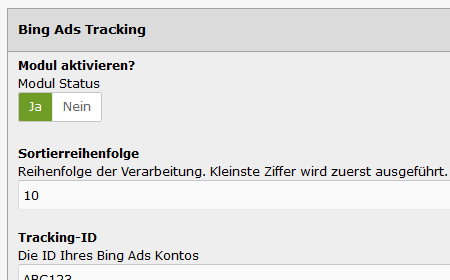 modified eCommerce Bing Ads Conversion Tracking