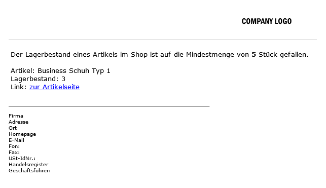xt:Commerce  Shop Lagerbestandswarnung Email