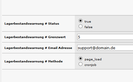 xt:Commerce Lagerbestandswarnung mit Emailversand