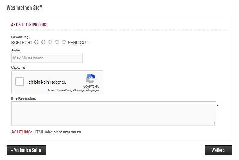 Modified Shop - Bewertung schreiben mit Google reCAPTCHA