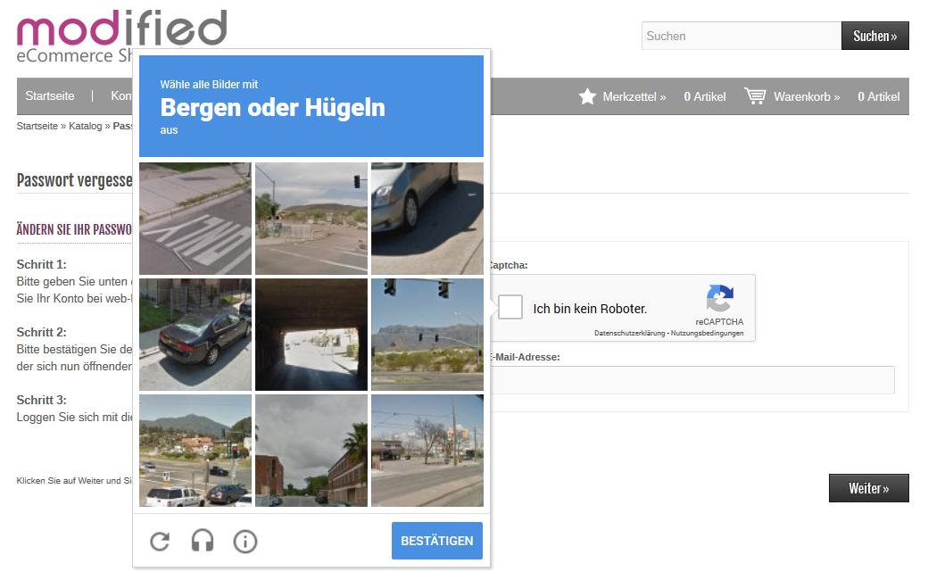 Modified eCommerce - Google reCAPTCHA Aufgabe