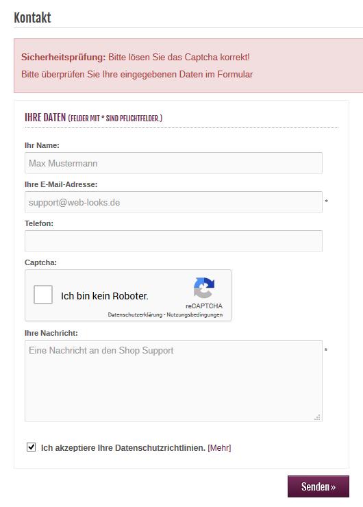 Modified eCommerce - Google reCAPTCHA Fehler im Kontaktformular