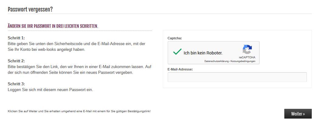 Modified Shop - Passwort vergessen mit Google reCAPTCHA