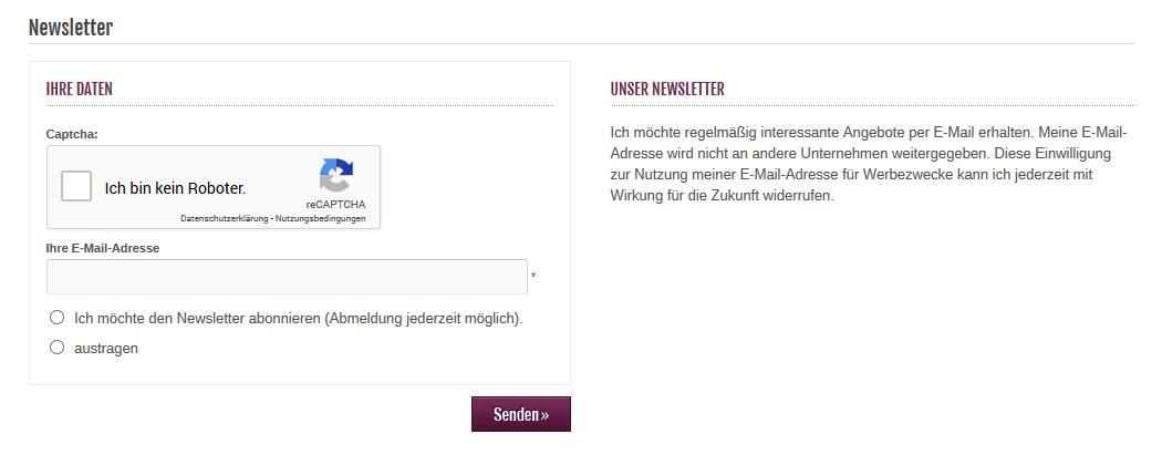 Modified Shop - Newsletter Anmeldung mit Google reCAPTCHA