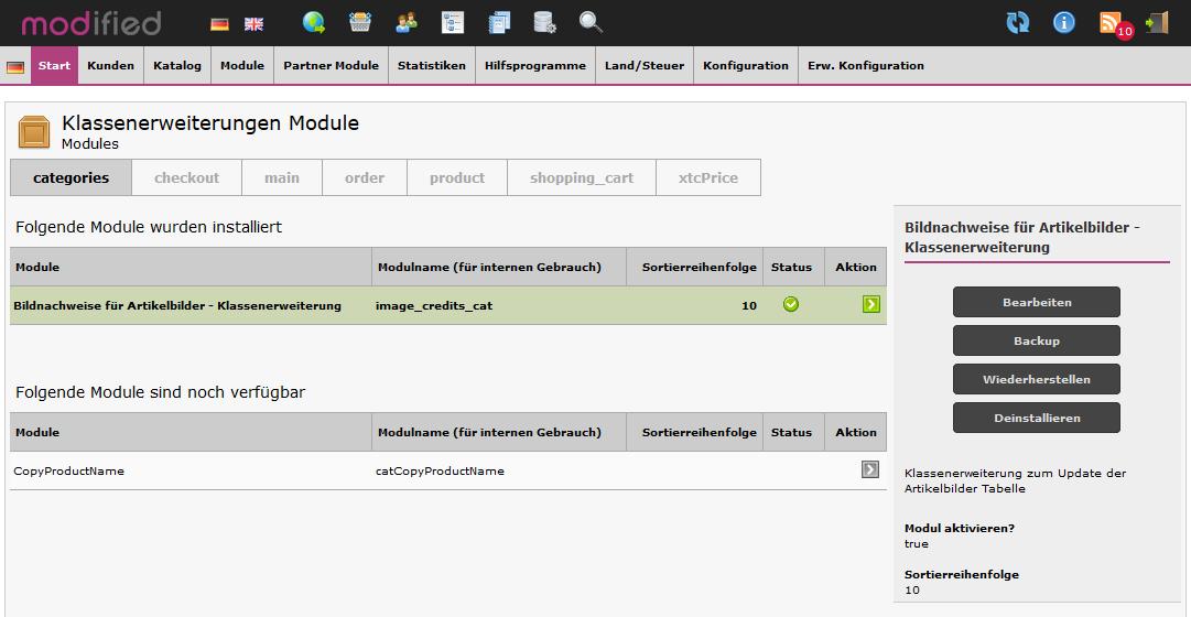 Modified eCommerce - Bildnachweise Klassenerweiterung
