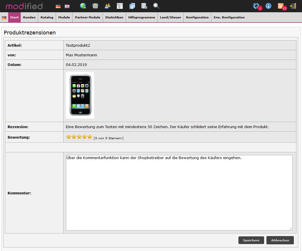 Modified Shop - Admin Kommentar zu Produktbewertung