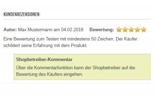 Modified Shop - Antworten auf Bewertungen