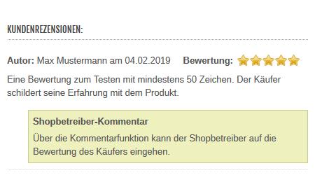 xt:Commerce  - Antworten auf Bewertungen