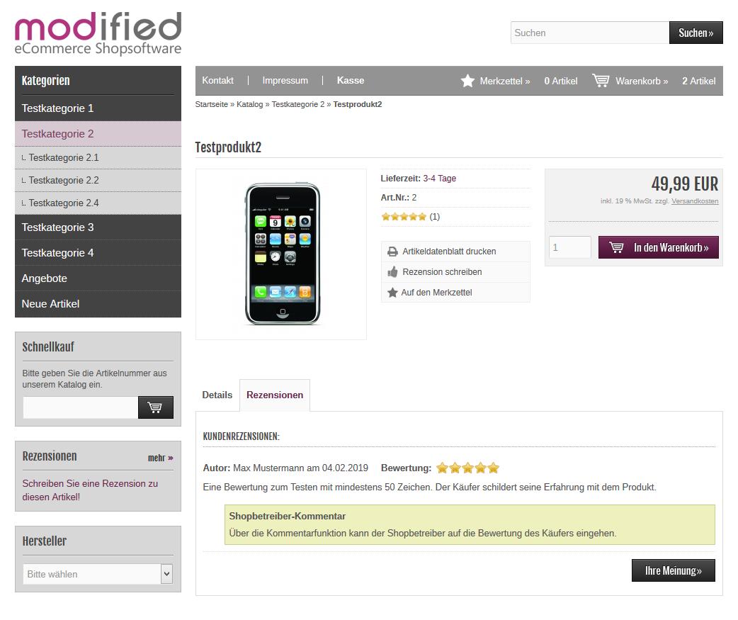 Modified Shop - Kommentar zu Bewertung auf Produktseite