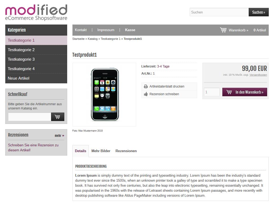 Modified Shop - Bildnachweis Artikelseite