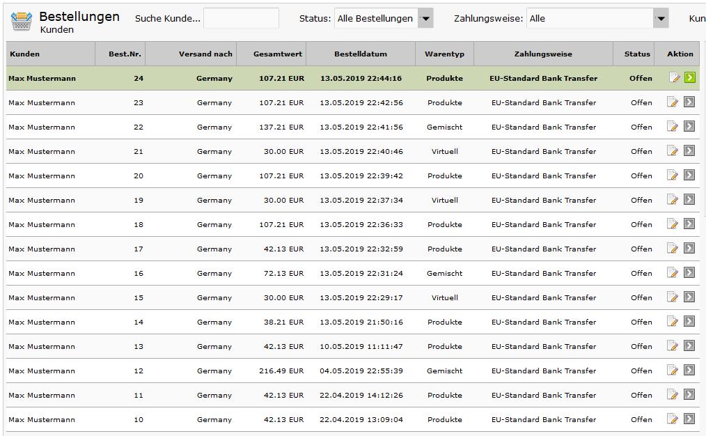 Modified eCommerce - Warentyp in der Bestellübersicht