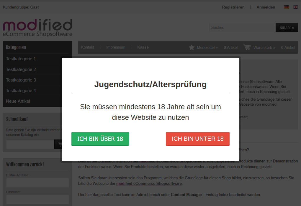 Modified eCommerce - Altersprüfung mit zwei Buttons