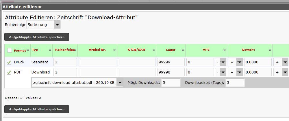 Download Artikel Einstellungen