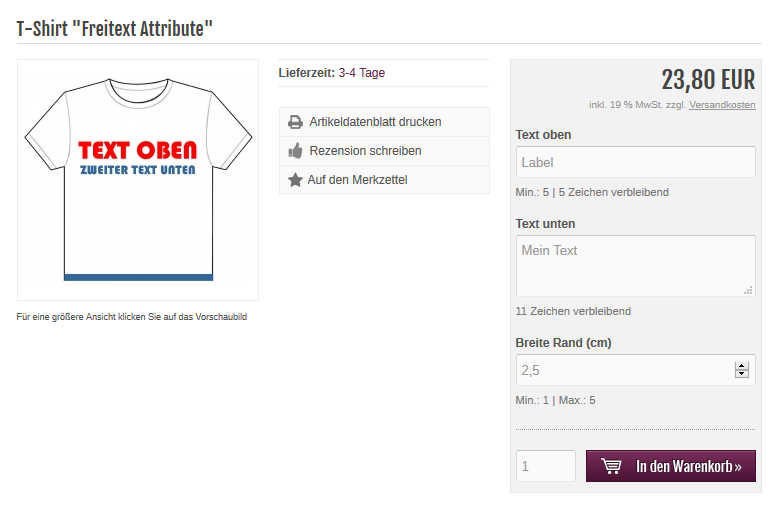Modified eCommerce - Freitext Attribute Artikel