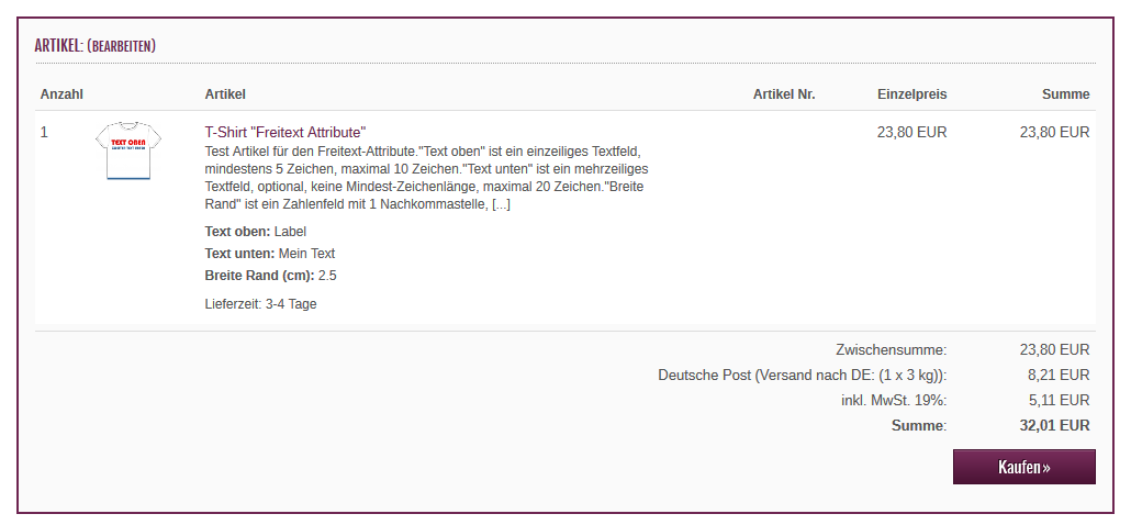 xtcmodified - checkout confirmation mit Freitext Artikel