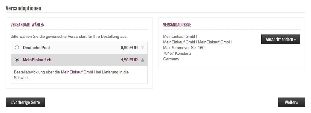 Modified eCommerce - MeinEinkauf.ch Versandart