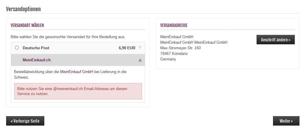 Modified Shop - MeinEinkauf.ch Fehler Email-Adresse