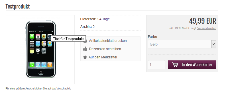 Modified Shop - Title Attribut auf Produkt-Seite