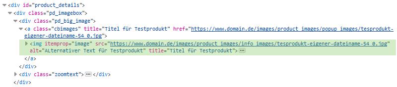 xt:Commerce - Quelltext Produkt SEO Bild