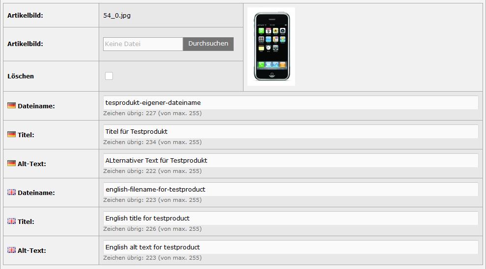 Modified eCommerce - Produktbild SEO Eingabefelder