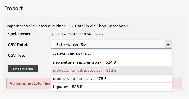 Modified eCommerce - CSV Import Datei Auswahl