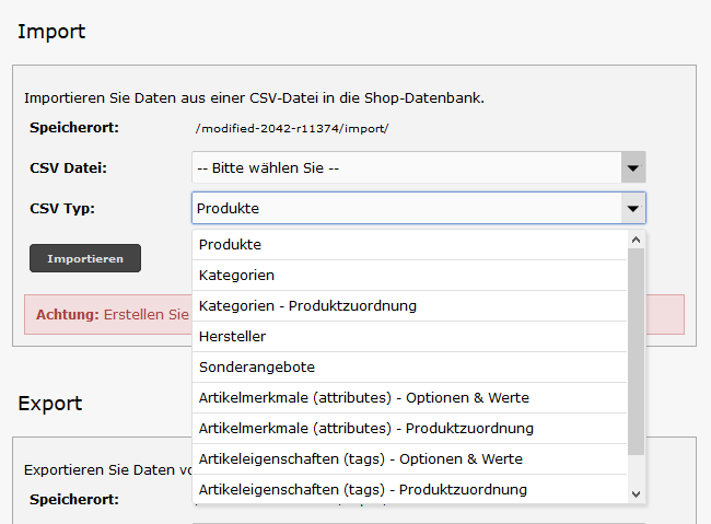 Modified eCommerce - CSV Import Typ Auswahl