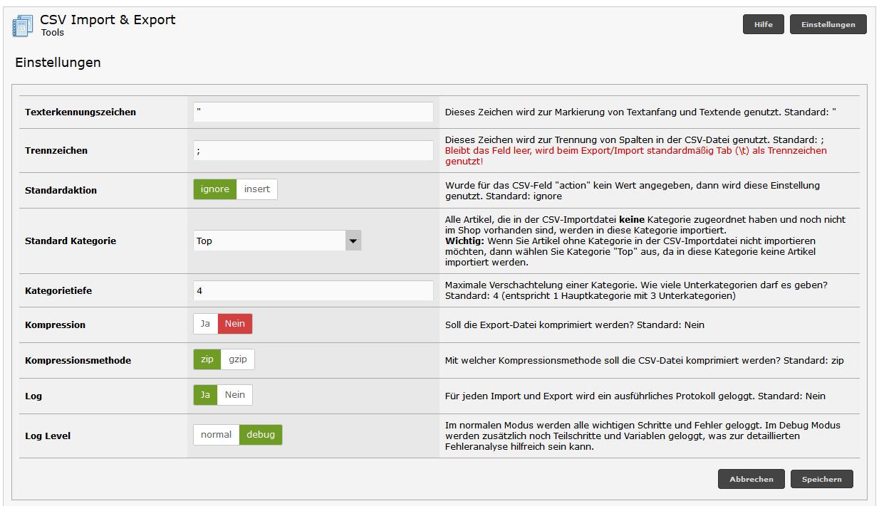 Modified Shop - CSV Backend Einstellungen