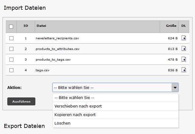 Modified Shop - CSV Dateien verwalten