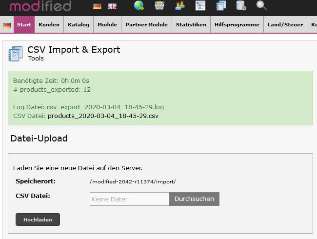 xtc modified Shop - CSV Export Bericht