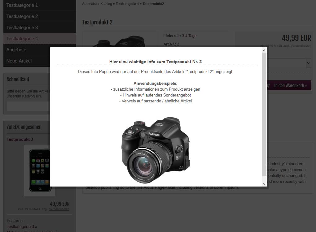 modified Shop - Info Popup Produktseite
