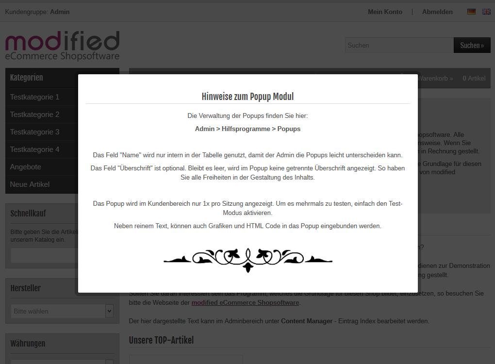 modified Shop - Info Popup Startseite