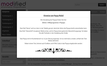 modified eCommerce  - Info Popups