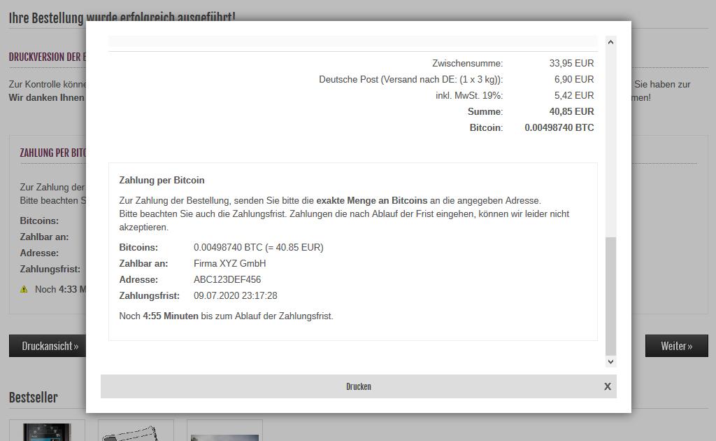 Modified eCommerce - Bitcoin Bestellung Drucken