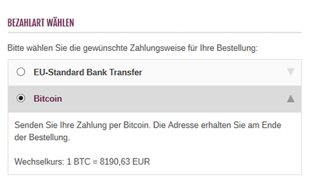 modified eCommerce  - Bitcoin Zahlungsart